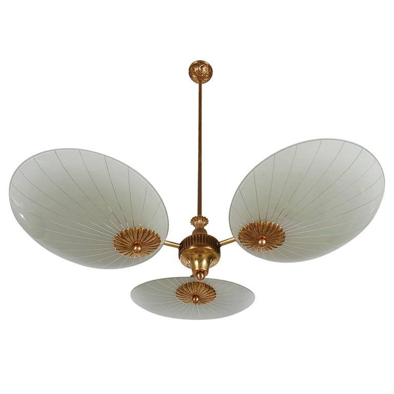 Italian Brass Sputnik Chandelier Attributed to Stilnovo or Arteluce