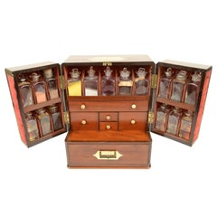 English Apothecary Cabinet with Mahogany Case, Brass Handle and Brass Hinges
