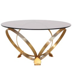 Round Brass Geometric Rings Coffee Table with Glass Top