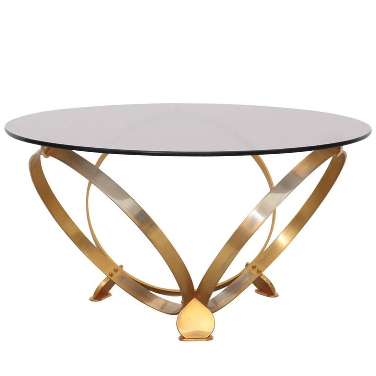 Round Brass Geometric Rings Coffee Table with Glass Top For Sale