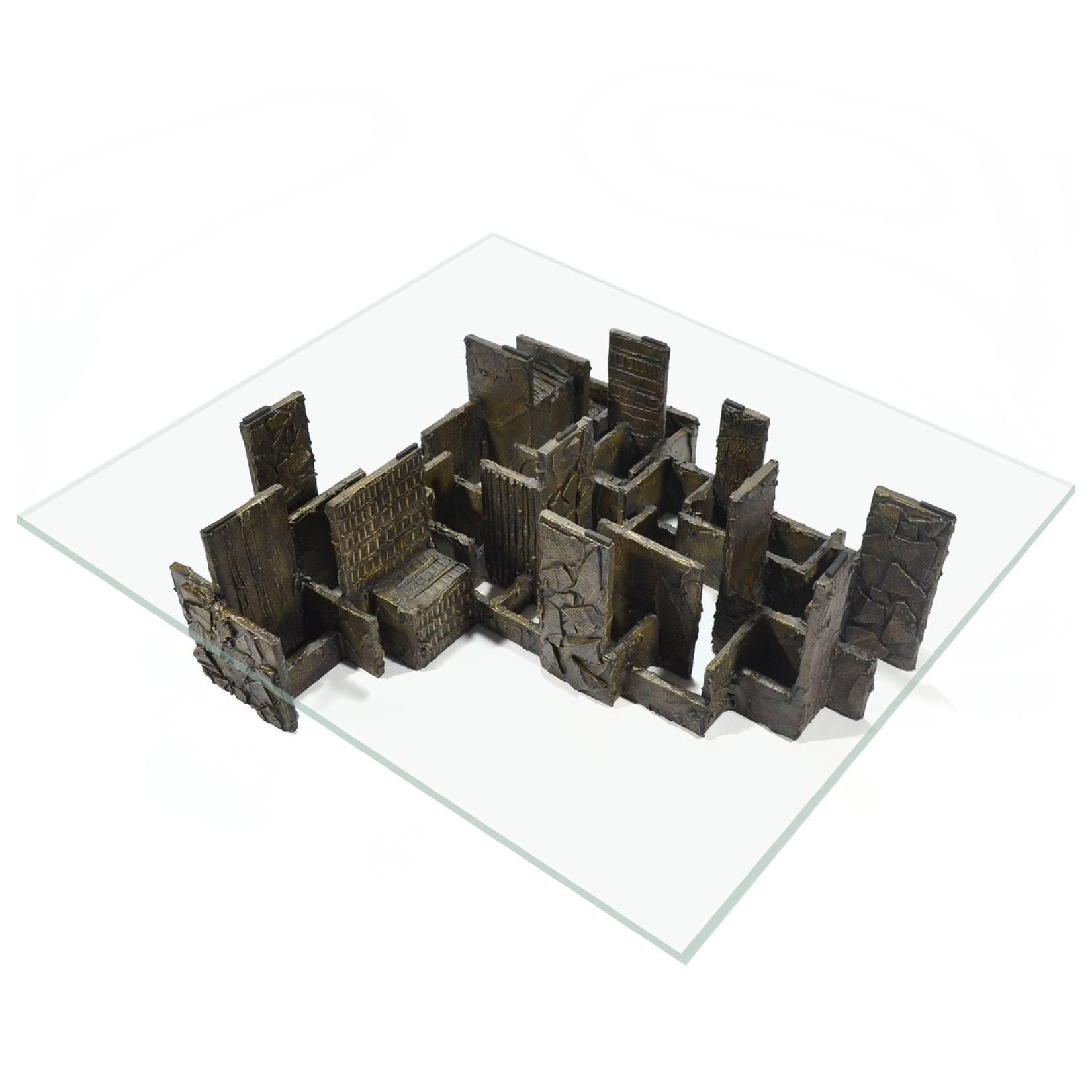 Paul Evans Rare Oversize Sculpted Bronze Coffee Table