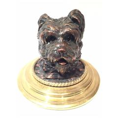 Late 19th or Early 20th Century Yorkshire Terrier Dog Bronze French Inkwell
