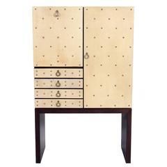 Glamorous Studded Goatskin Bar Cabinet by Aldo Tura
