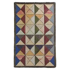 Exceptionally Graphic and Colorful Vintage Geometric Hook Rug
