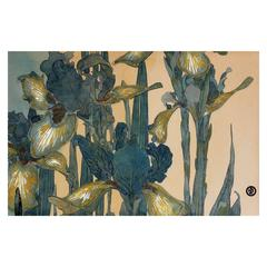 """""""Bearded Iris"""" Arts and Crafts Japonisme Painting"""