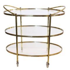 Three-Tier Mid-Century Brass Bar Cart