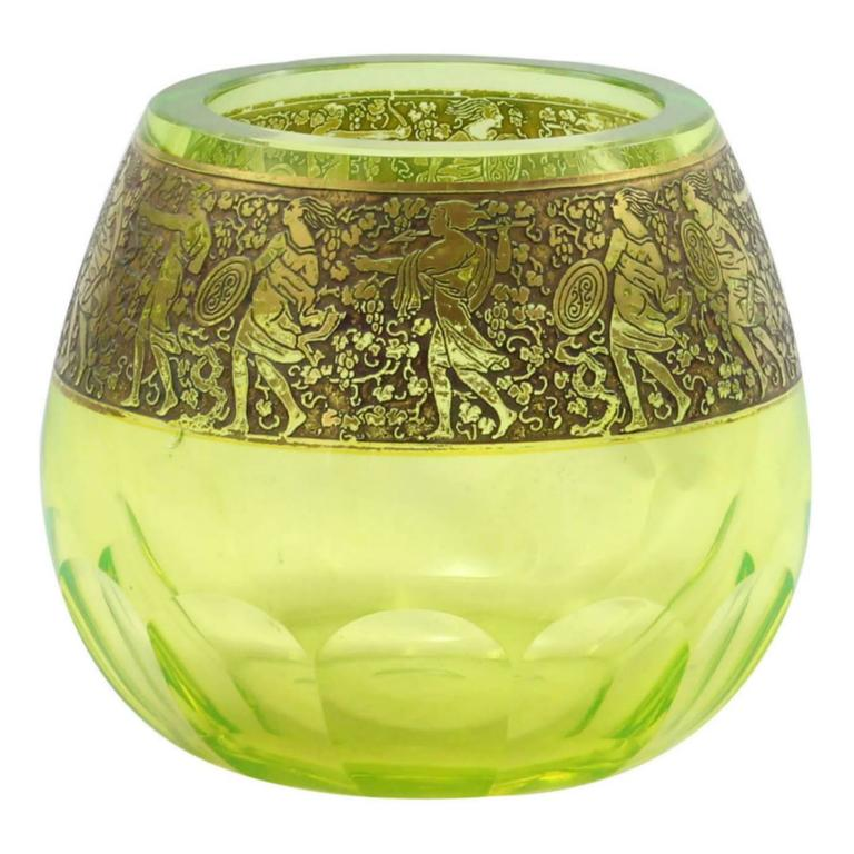 Art Deco Uranium Glass Vase With Gold Frieze By Moser For Sale At