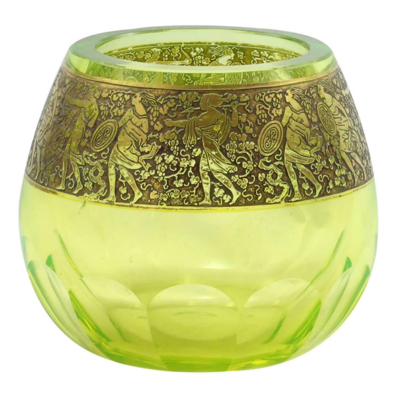 Moser glassworks furniture 22 for sale at 1stdibs art deco uranium glass vase with gold frieze by moser reviewsmspy