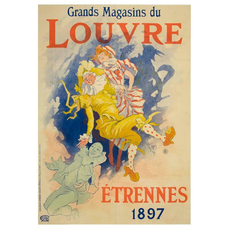 Original Jules Chéret Poster Ad for Louvre Department Store