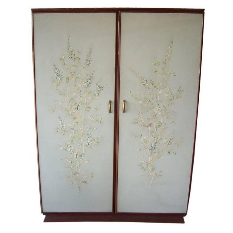 Painted Foyer Cabinets : Rare osvaldo borsani floral painted foyer cabinet for sale