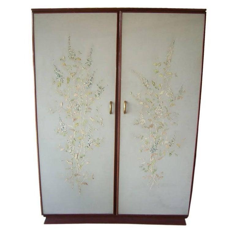 Rare Osvaldo Borsani Floral Painted Foyer Cabinet For Sale