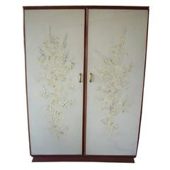 Rare Osvaldo Borsani Floral Painted Foyer Cabinet