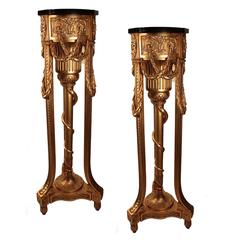 An Important Pair of   George III  Adam Style Giltwood Pedestals