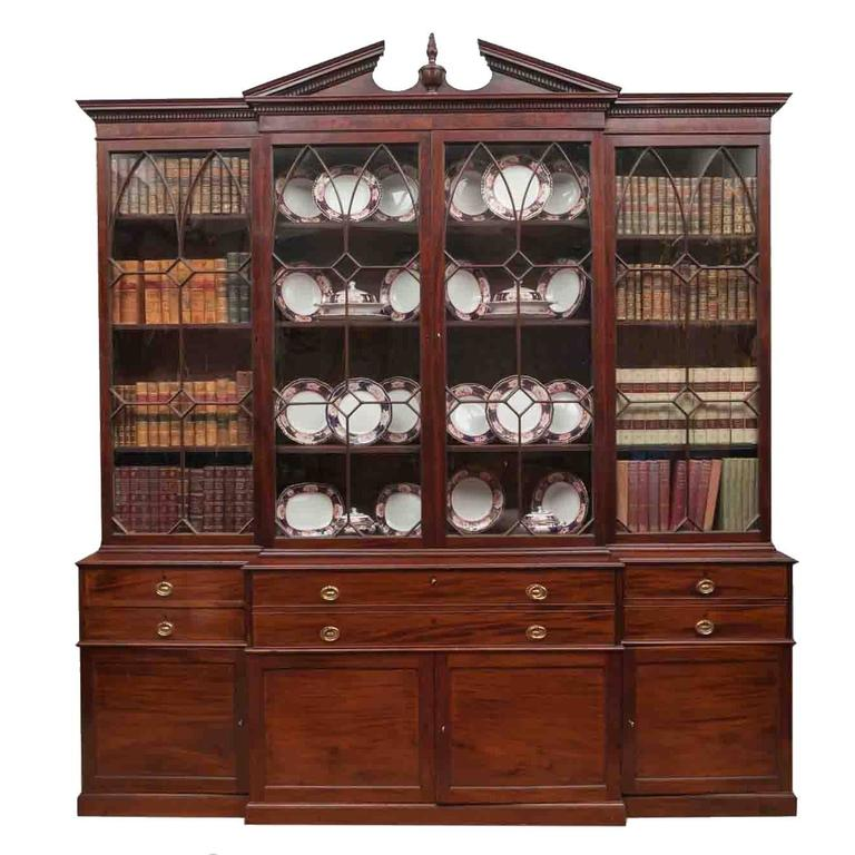 18th Century Georgian III Mahogany Secretaire Breakfront Bookcase