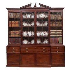 18th Century Georgian III Mahogany Secretaire Breakfront Bookcase