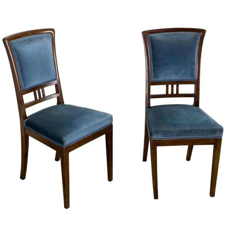 Pair of French, 1920s Mahogany Dining Chairs