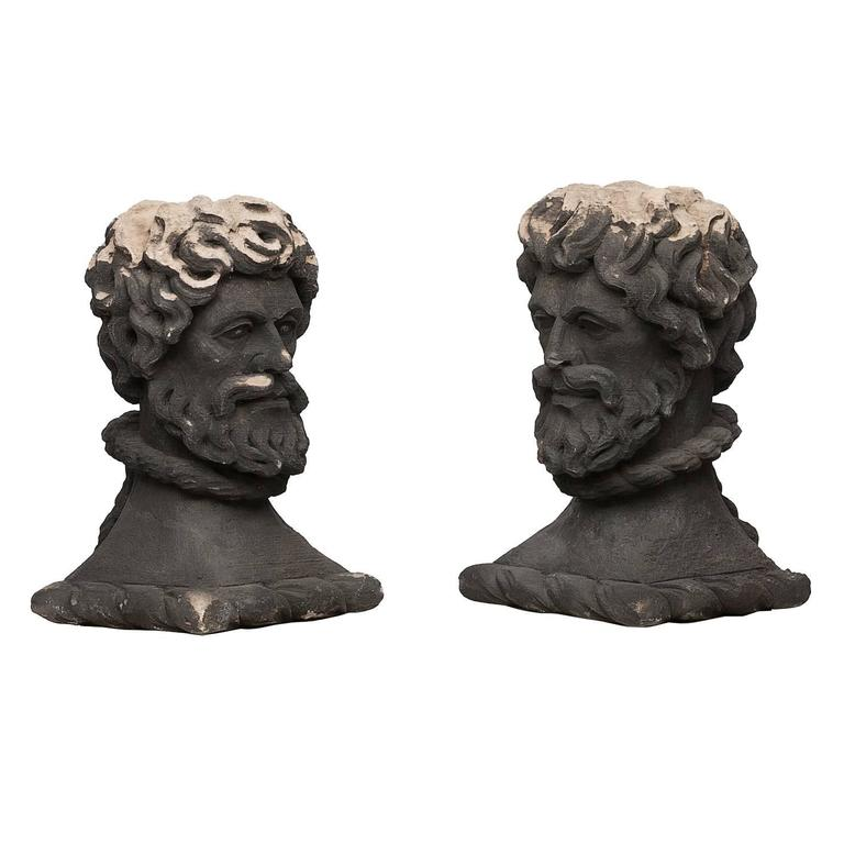 Early 19th Century Pair of Portland Stone Heads