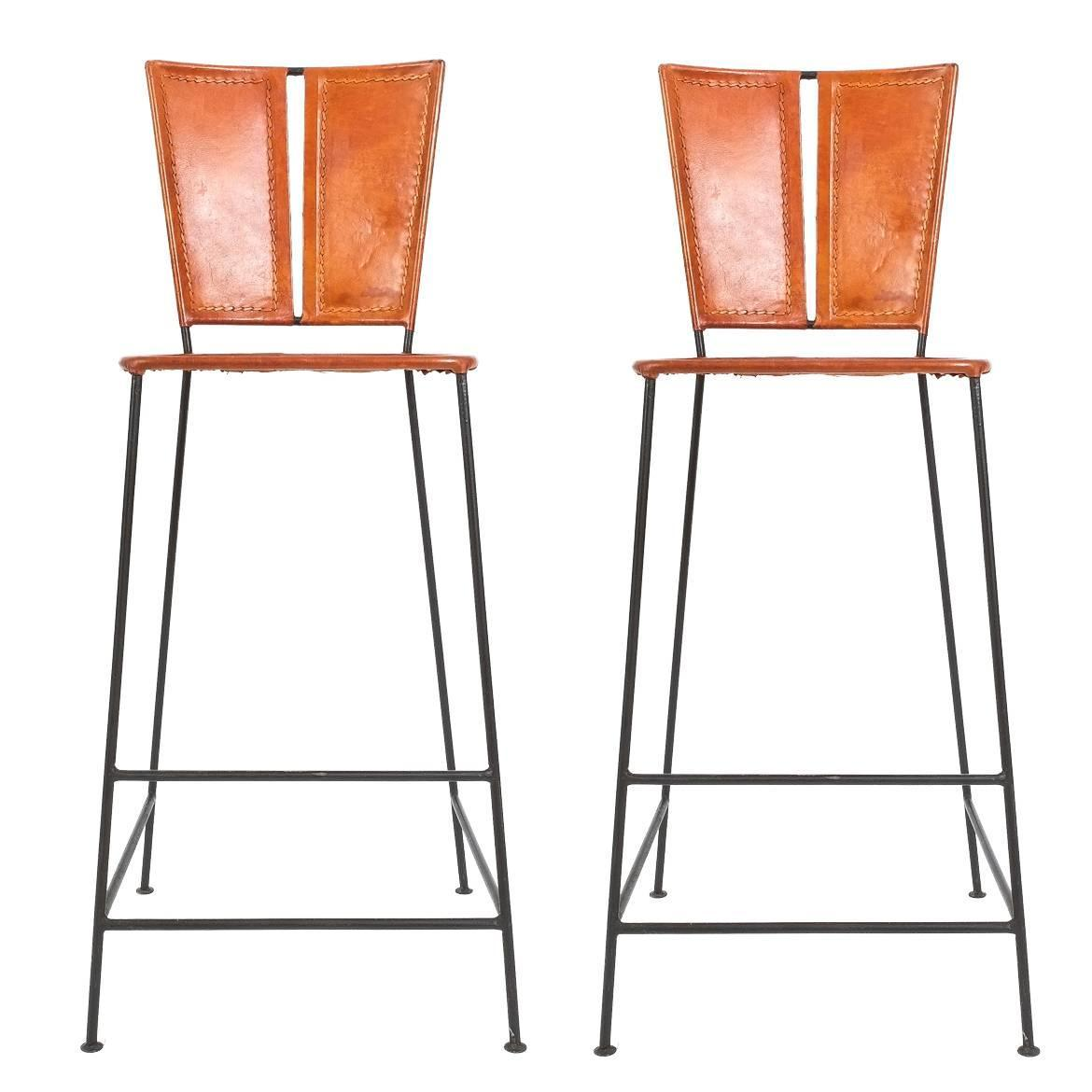 Pair Of Custom Made Leather Bar Stools France Circa 1960