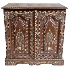 Intricately Inlaid Bone and Teak Cabinet