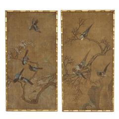 19th Century Pair of Chinese Style Painting, Bamboo Style Frame