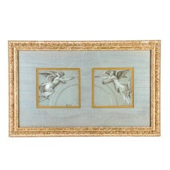 """Charming 18th Century French Pastel, """"Heralding Angels"""" in Giltwood Frame"""