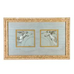 "Charming 18th Century French Pastel, ""Heralding Angels"" in Giltwood Frame"
