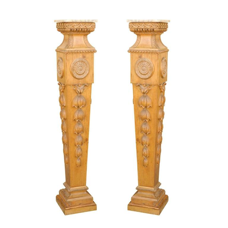 Pair of Tall English Mid-19th Century Carved Pedestals with Marble Top