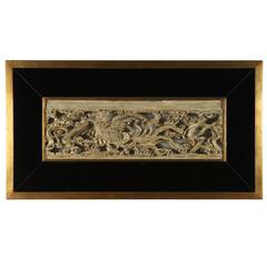 Beautiful Oriental Carving Framed in Black Mirror and Gilded Wood