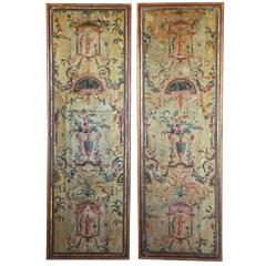 Pair of Framed 18th Century French Painted Paper Panels