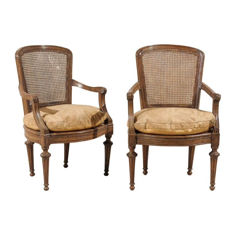Pair of Italian 18th Century Wooden Armchairs For Sale