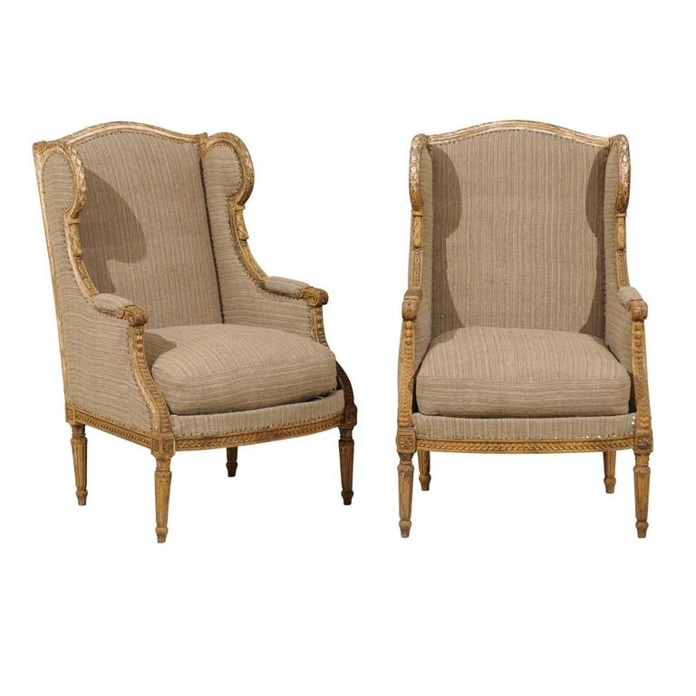 Pair of French 19th Century Louis XVI Style Wingback Chairs 1