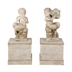 Pair of Italian Carved Panisci Figures on Wooden Base