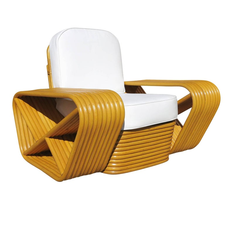10 Strand Square Pretzel Rattan Lounge, Paul Frankl Rattan Furniture