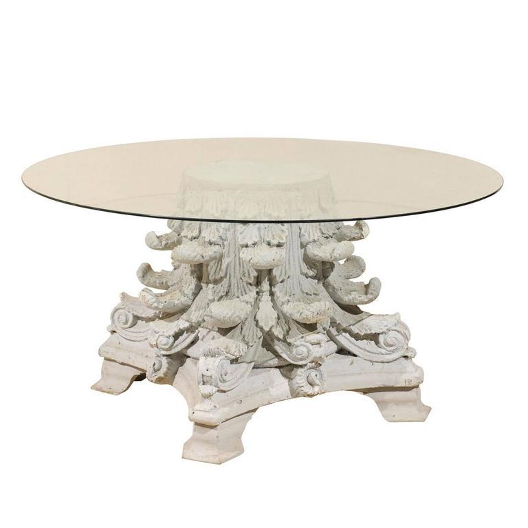 American Corinthian Capital Base Round Glass Top Table