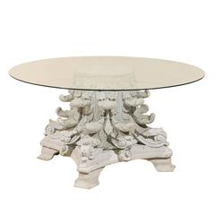 American Corinthian Capital Base Round Glass Top Table