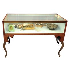1920s Original Antique Lighted Display Case with Ornate Legs