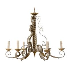 French Six-Light Vintage Painted Chandelier