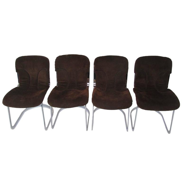 set of four cidue chrome and chocolate suede italian