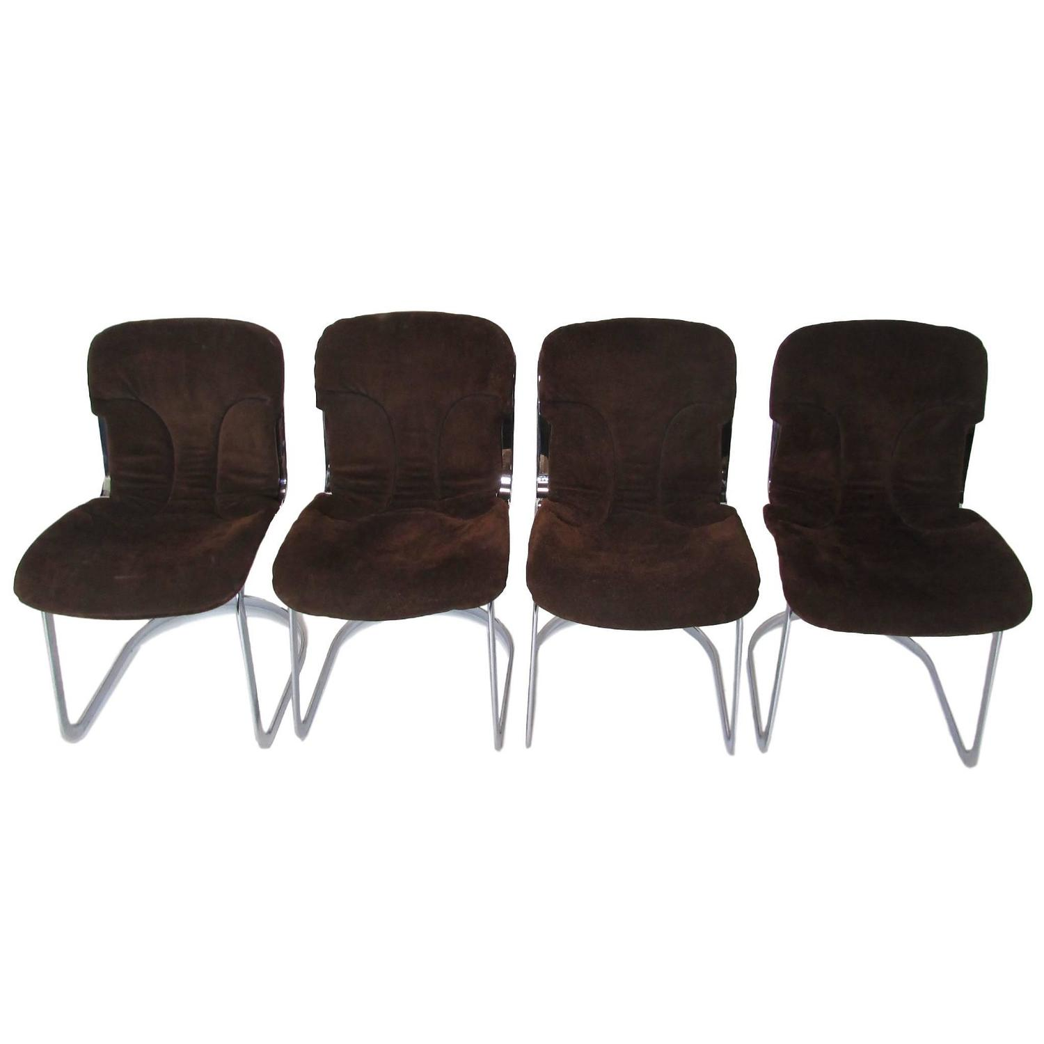 chrome and chocolate suede italian dining chairs for sale at 1stdibs