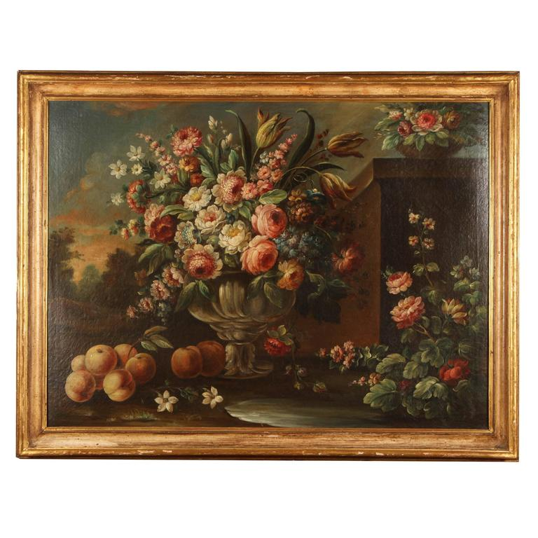 Pair of 19th Century Italian School Still Life Large Oil-On-Canvas Painting with For Sale