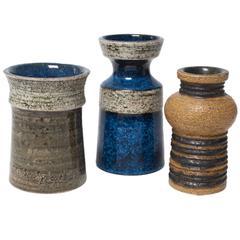 Three Scandinavian Modern Vases by Britt-Louise Sundell, Gustavsberg