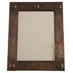 English Arts & Crafts Hammered Copper Mirror
