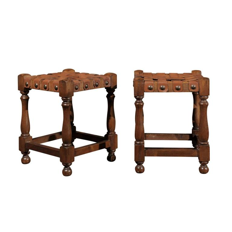 Terrific French Wooden Stools With Woven Leather Tops And Nail Heads Circa 1920 Machost Co Dining Chair Design Ideas Machostcouk