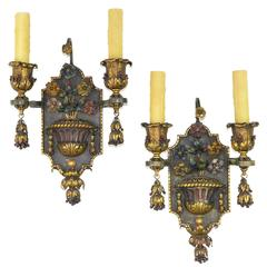 Pair of Painted and Gilt Iron Two-Arm Wall Light Sconces