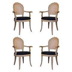 Set of Four Venetian Grotto Shell Back Chairs