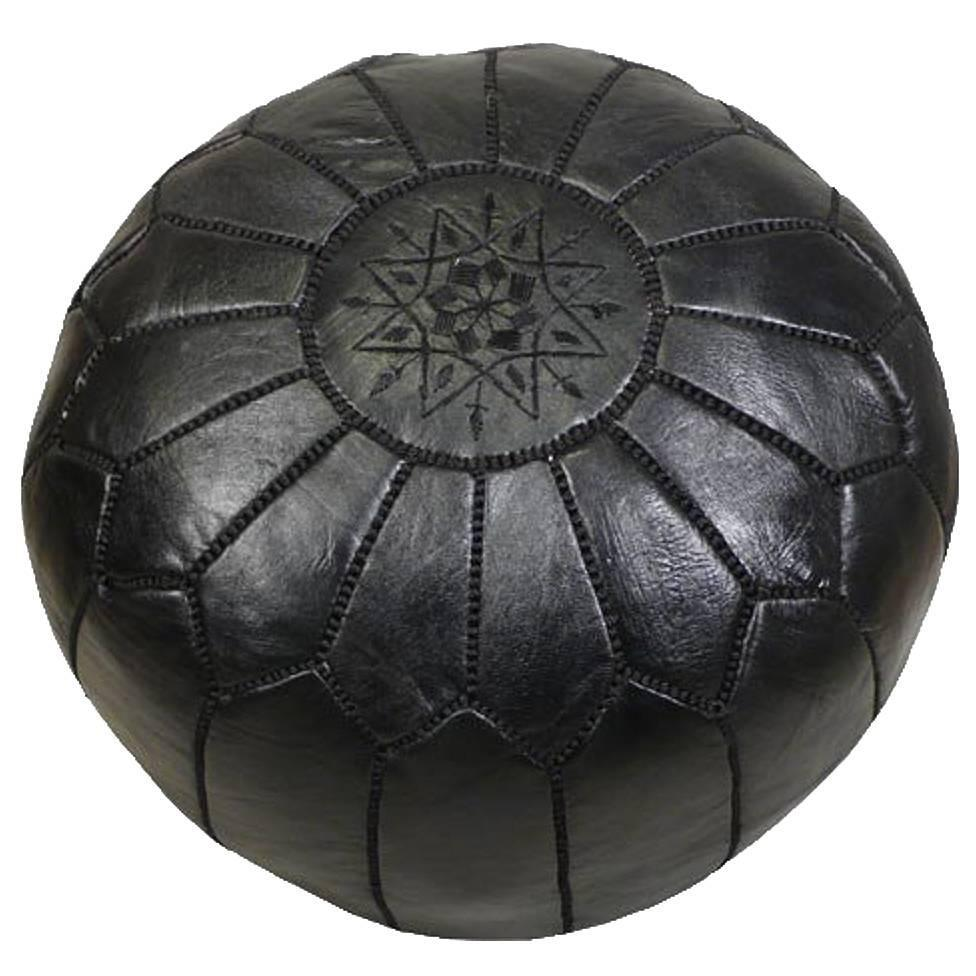 handmade moroccan leather foot stool or pouf at 1stdibs. Black Bedroom Furniture Sets. Home Design Ideas