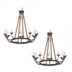 Pair of Rustic Eight-Arm Chandeliers of Small-Scale