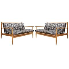Pair of Danish Style Settees or Loveseats