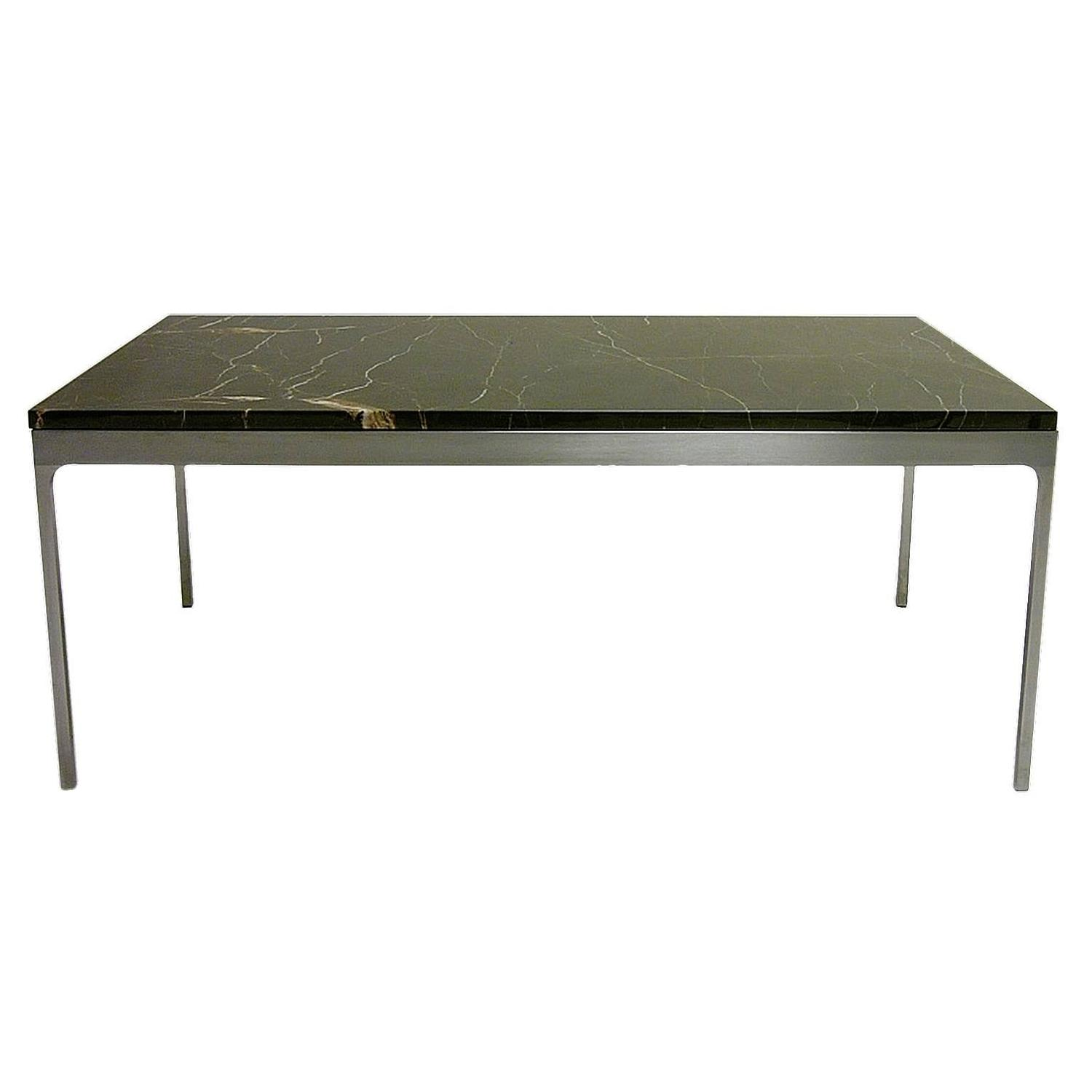 Arcade Coffee Table Aged Brass Structure and Marble Top Nero