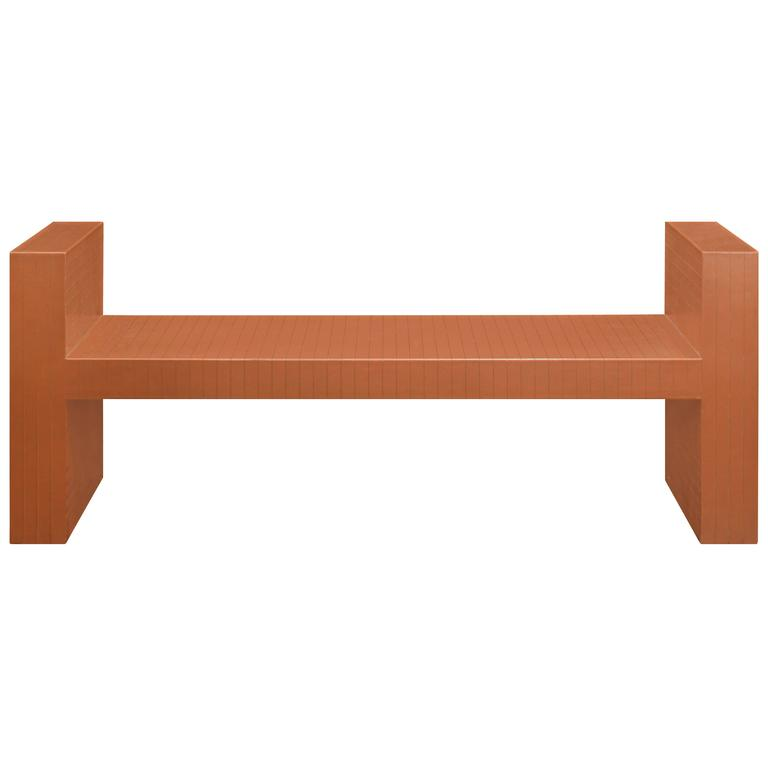Sculptural Bench Clad in Scored Leather by Karl Springer